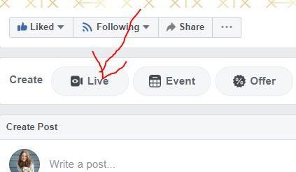 Facebook live screen shot